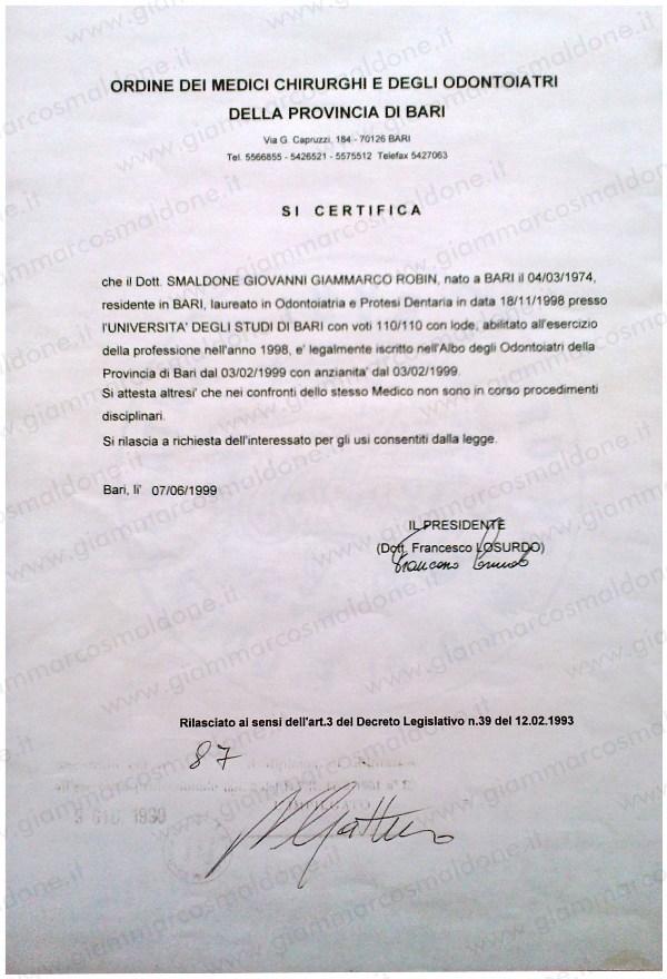 certificato iscrizione albo odontoiatri